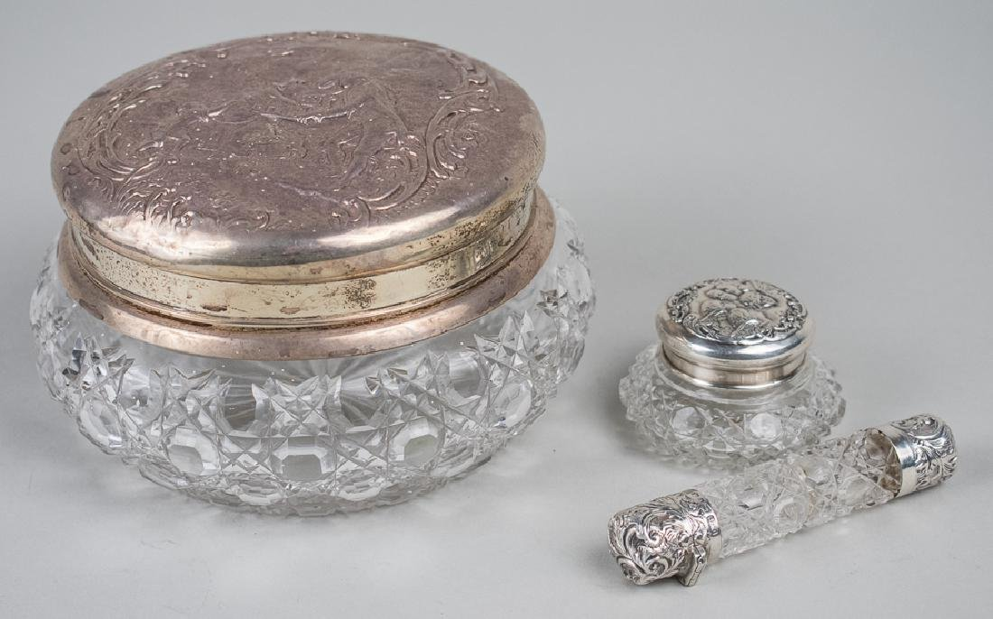 Three Glass and Silver Dresser Articles