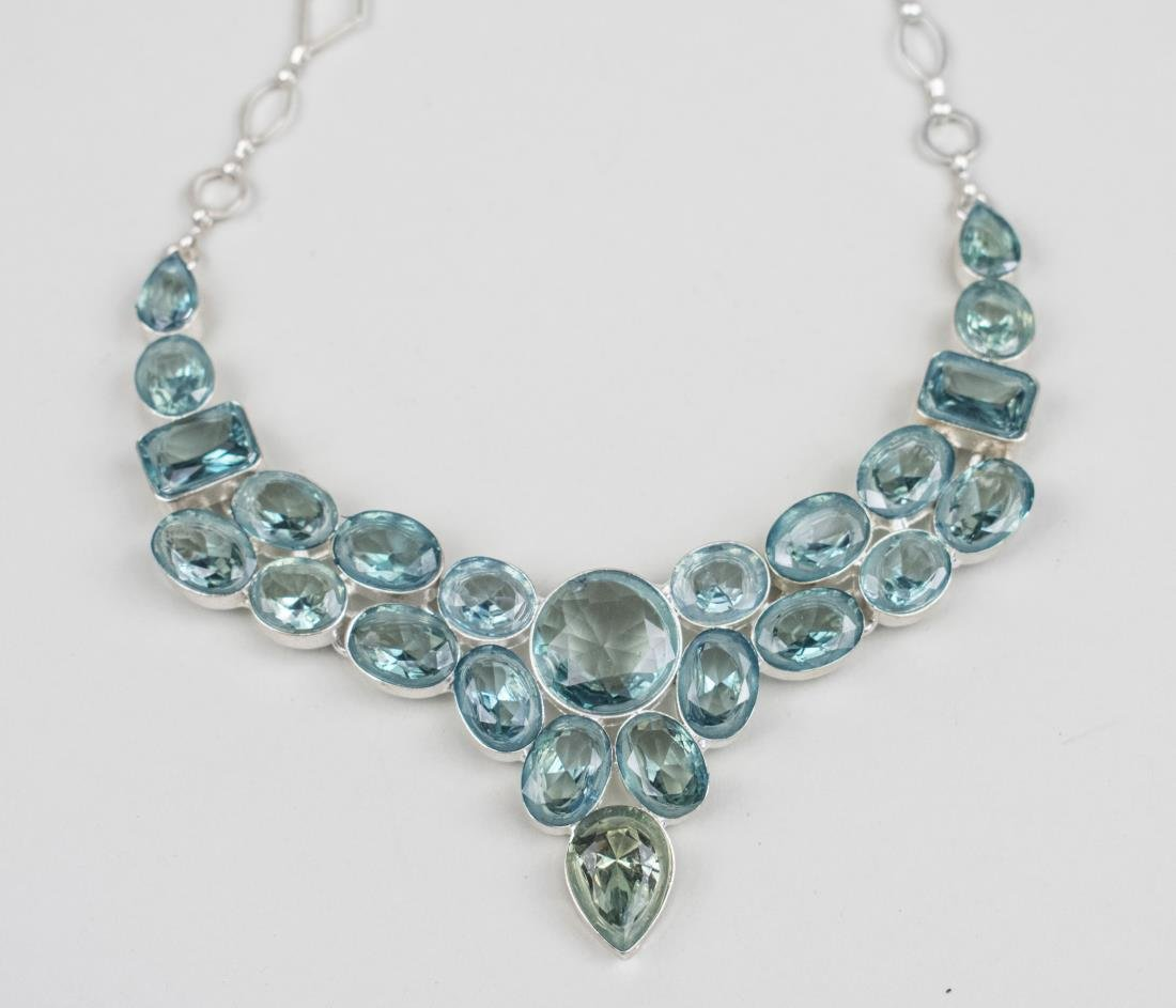 Created Color Change Aquamarine Bib Necklace   *
