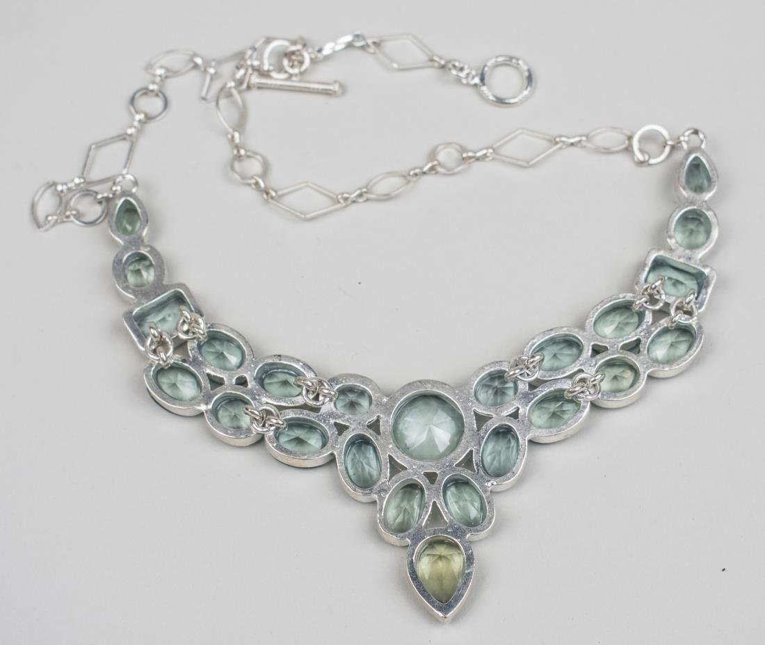 Created Color Change Aquamarine Bib Necklace   * - 2