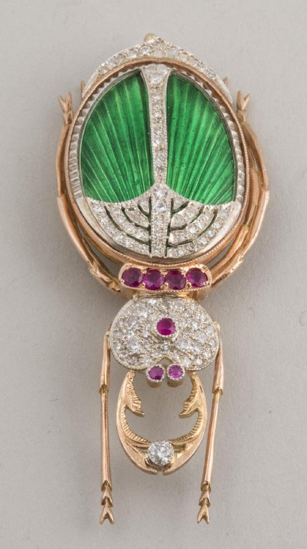 Faberge Enamel Beetle Pin