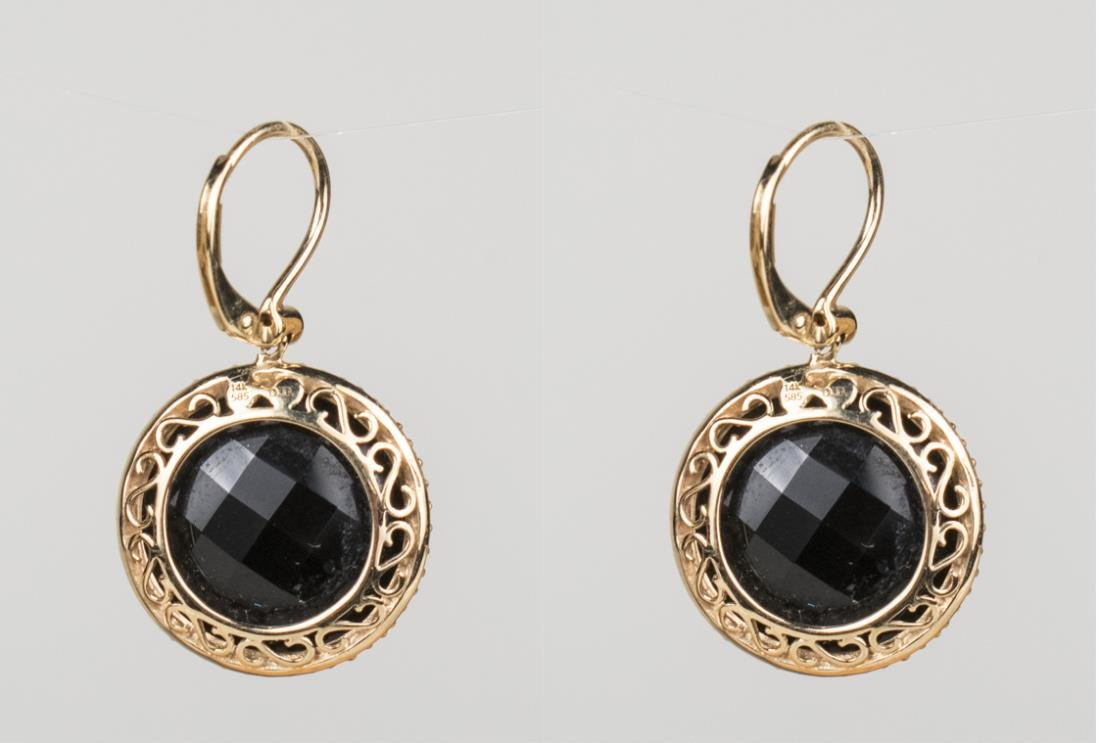 Gold and Onyx Earrings