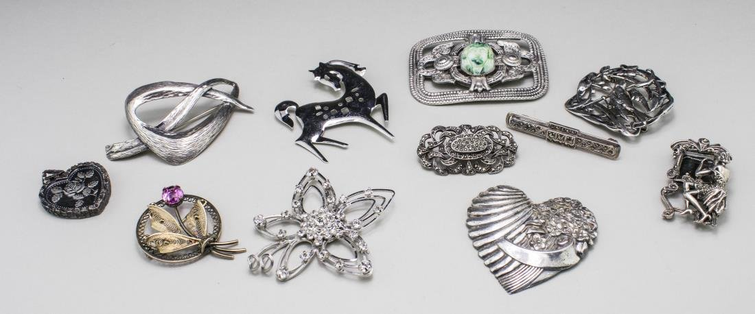 Group of Sterling Silver Pins and Brooches