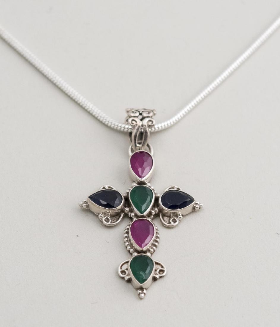 Gemstone Cross Pendant Necklace