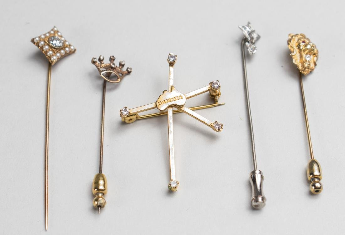 Group of Gold and Gemstone Stickpins   *