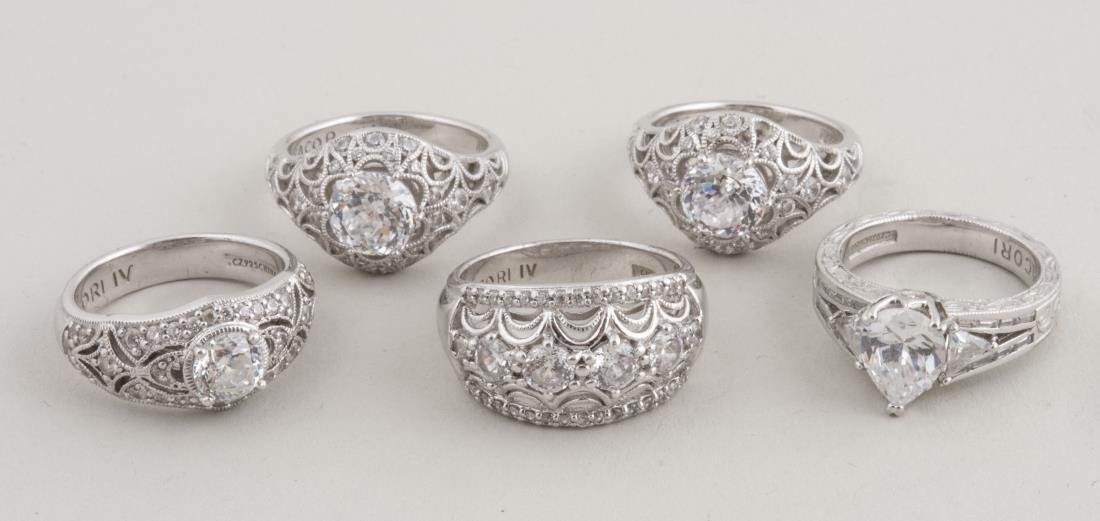 Five Tacori IV Sterling Silver Rings