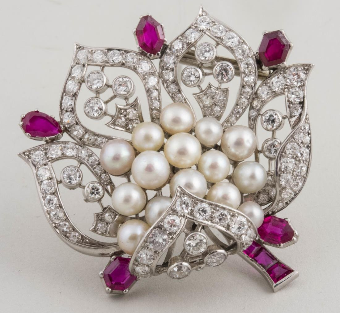Ruby, Pearl and Diamond Pin