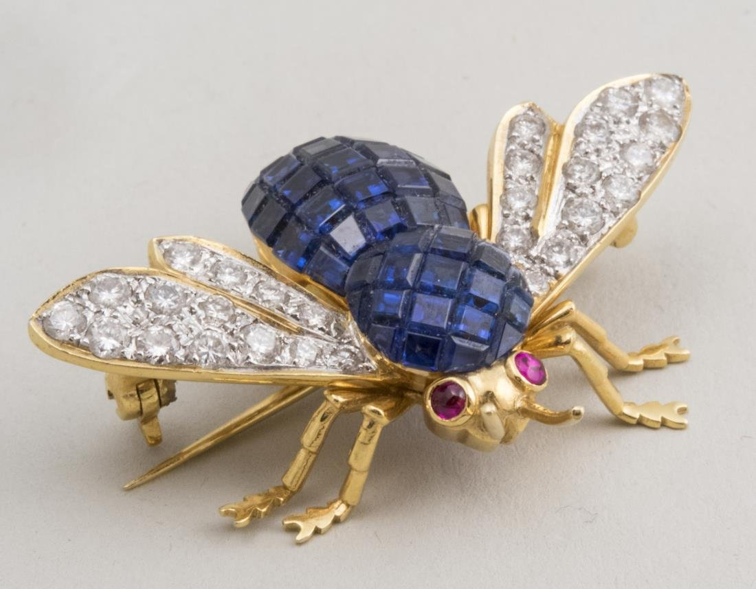 Diamond and Sapphire Bee Pin