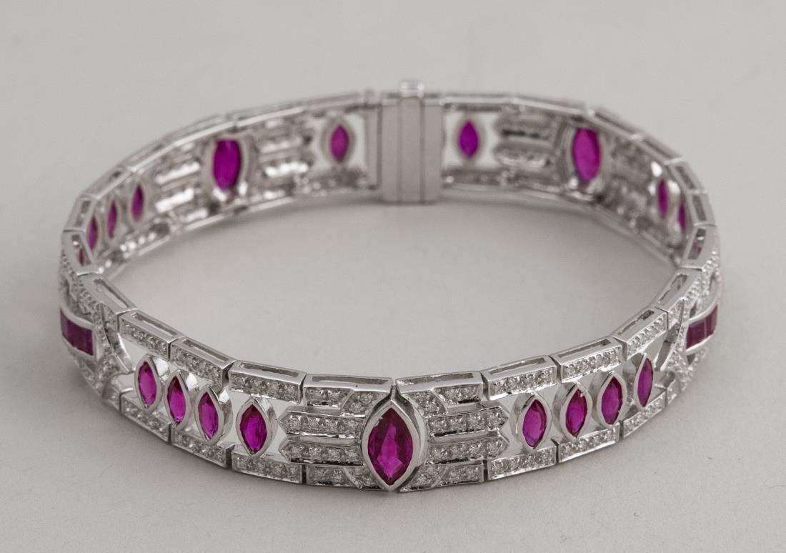 Art Deco Style Ruby and Diamond Bracelet