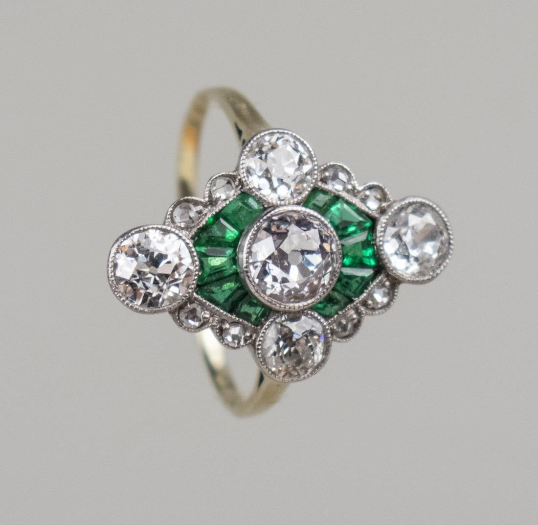 Art Deco Diamond and Emerald Ring   *