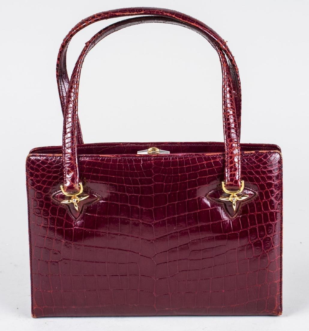 Gucci Red Alligator Handbag