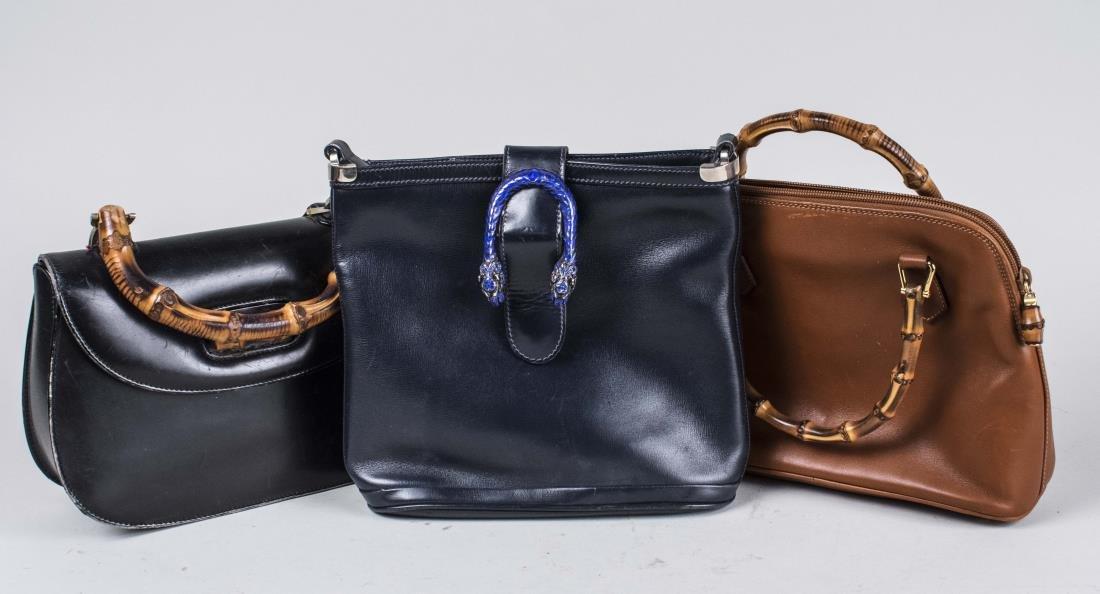 Three Vintage Gucci Calf Handbags