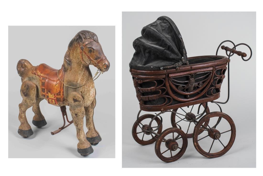 Vintage Toy Horse & Doll Pram