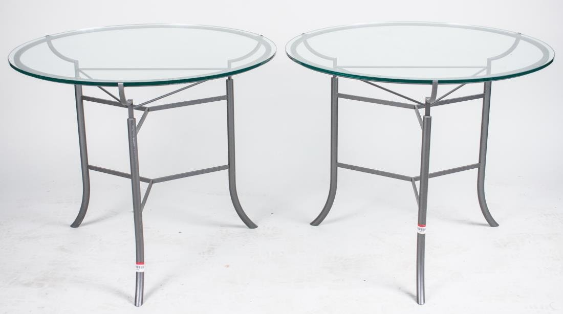 Pair of Glass Top Side Tables