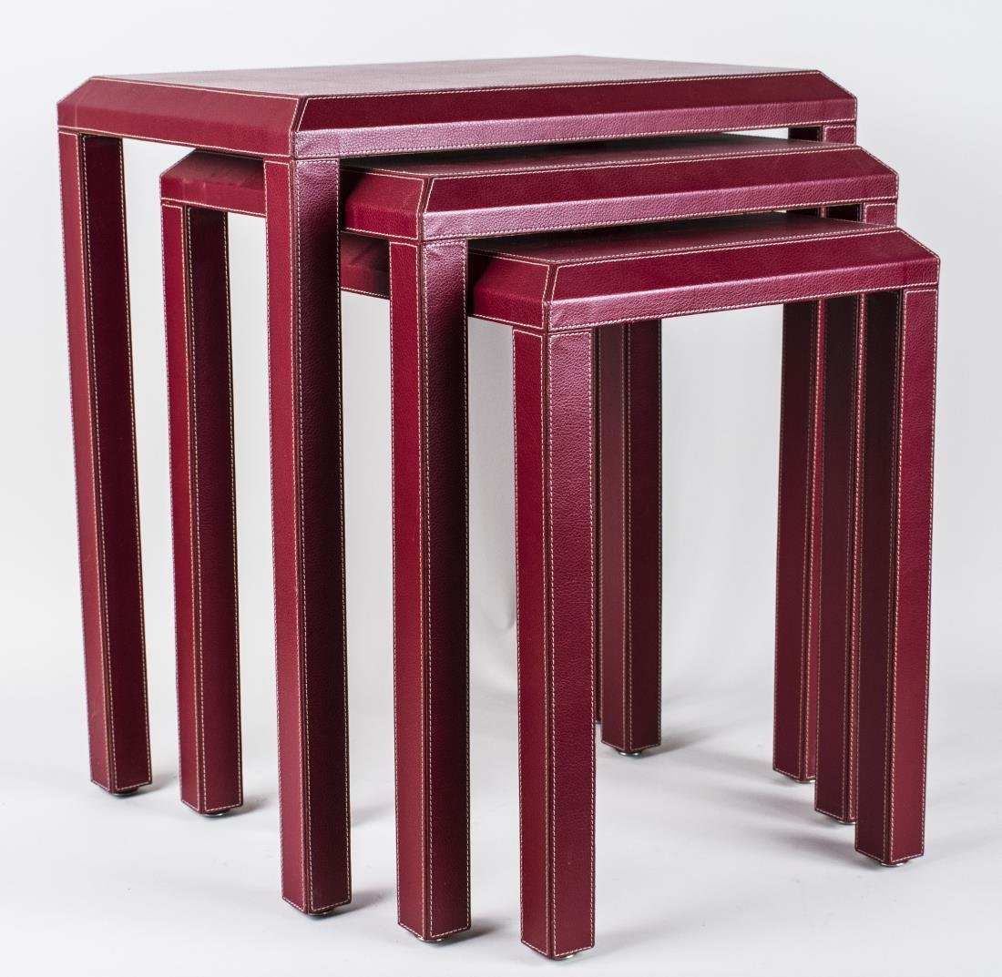 Red Leather Nest of Tables