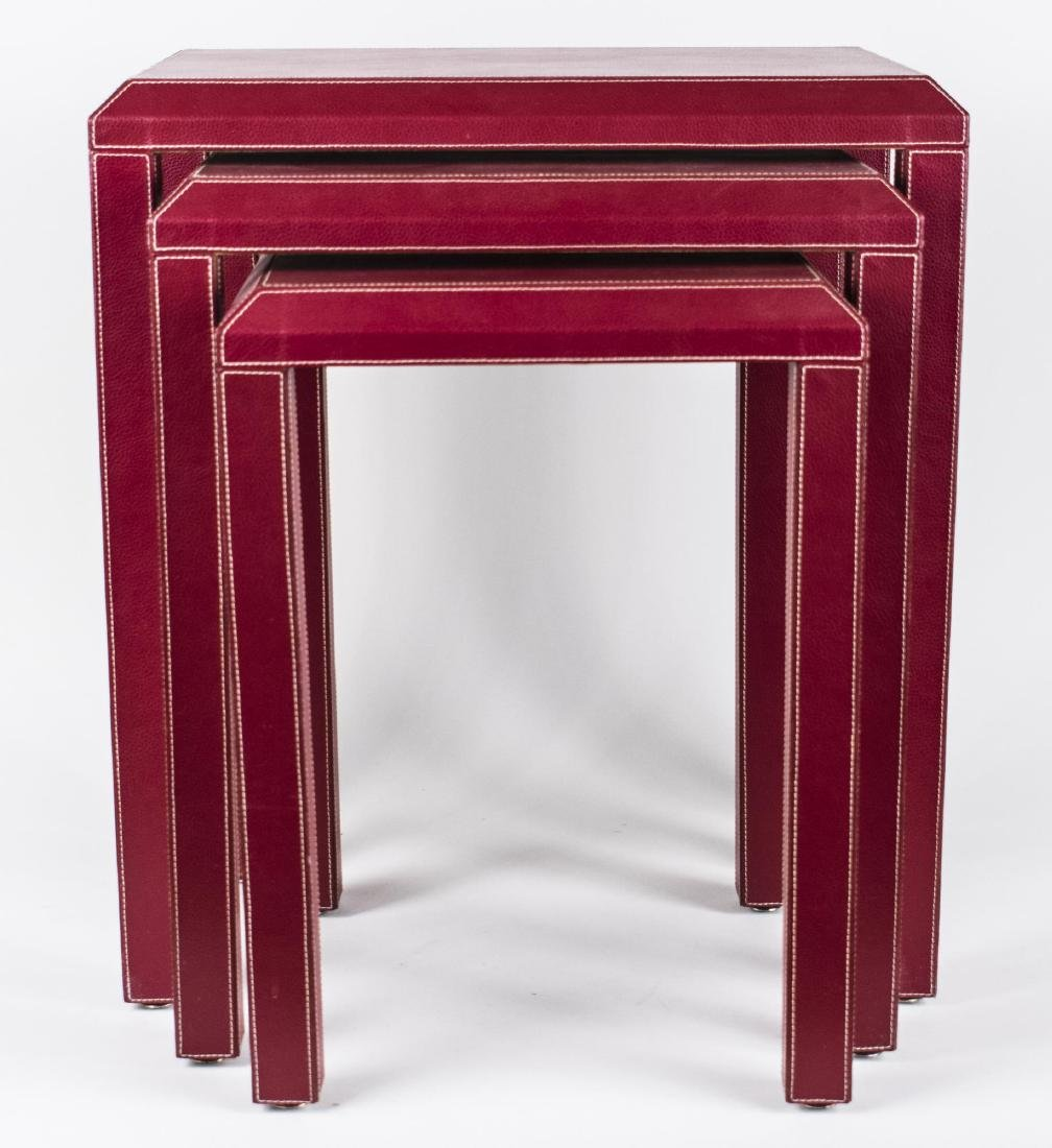 Red Leather Nest of Tables - 2
