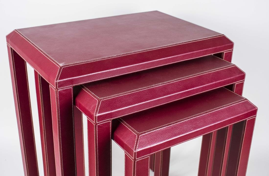 Red Leather Nest of Tables - 3