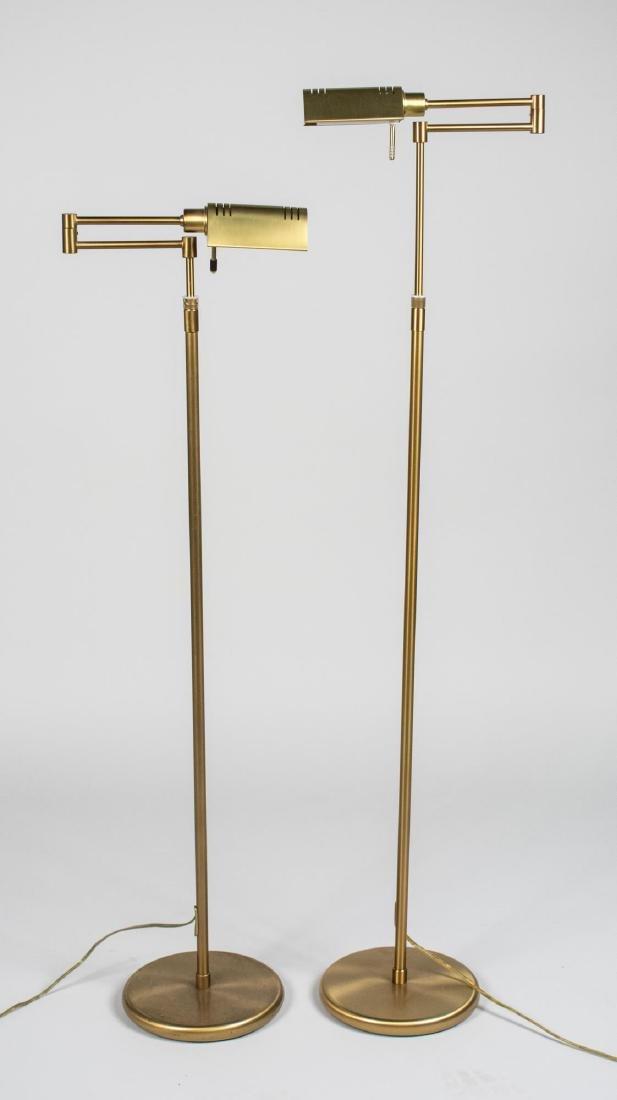Pair of Brass Reading Floor Lamps