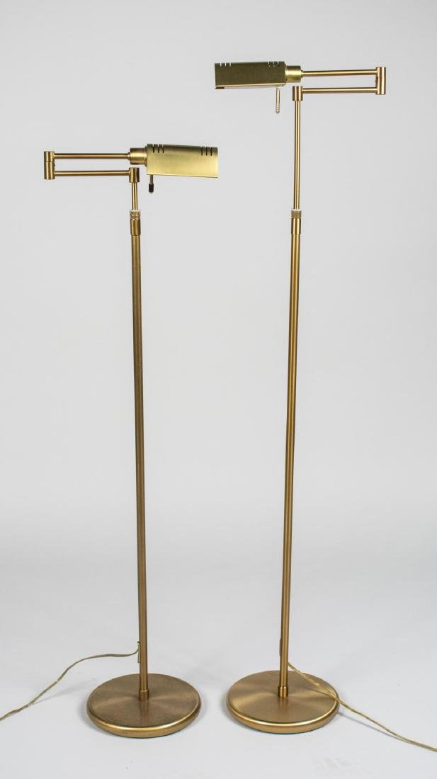 Pair of Brass Reading Floor Lamps