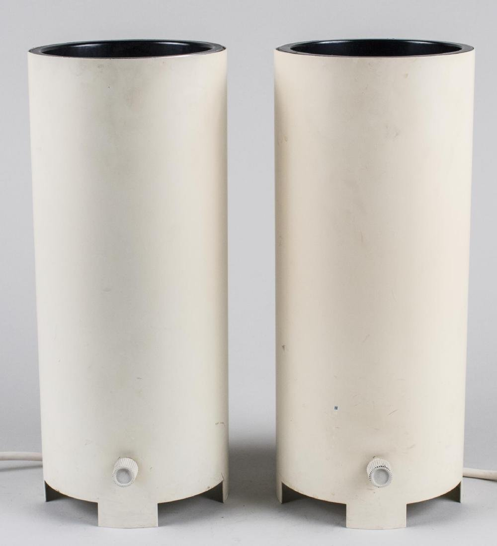 Pair of White Cylindrical Lamps