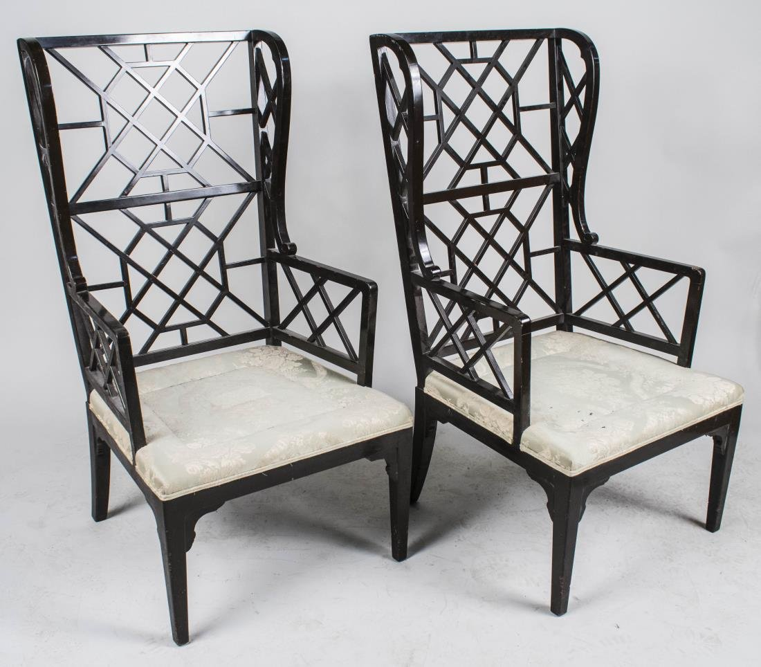 Pair Chinese Chippendale Style Chairs