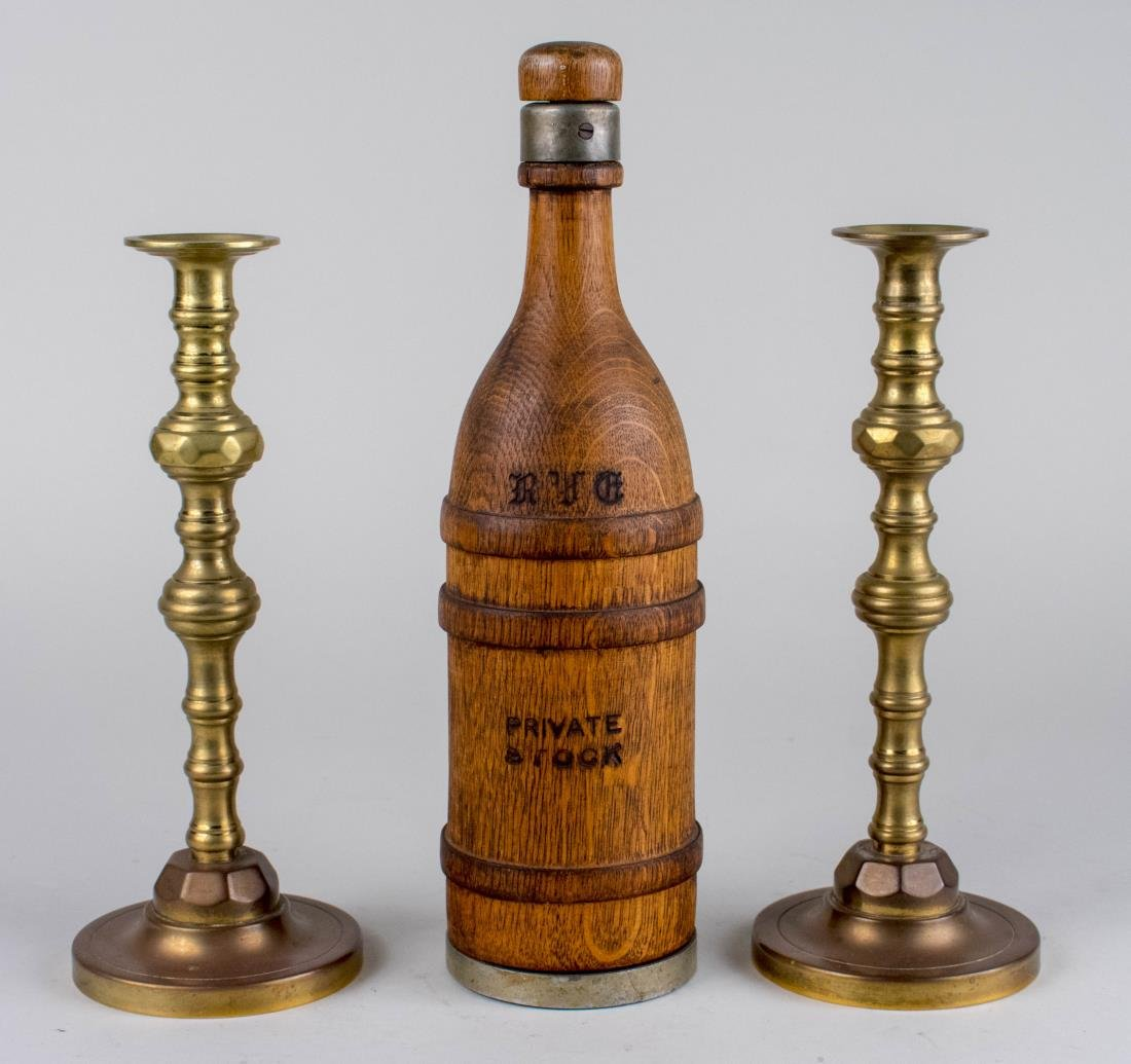 Brass Candlesticks & Wood Private Stock Bottle