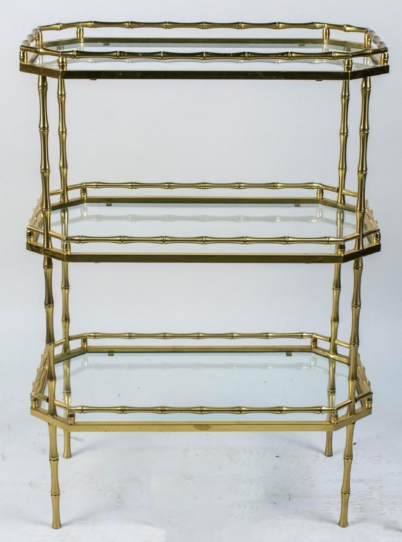 Brass Bamboo Three Tier Table