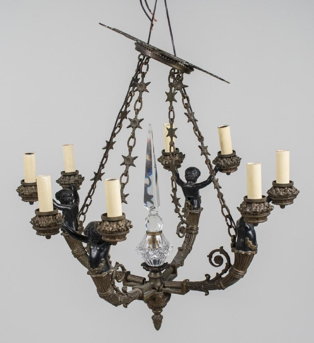 Gilt and Patinated Metal Chandelier