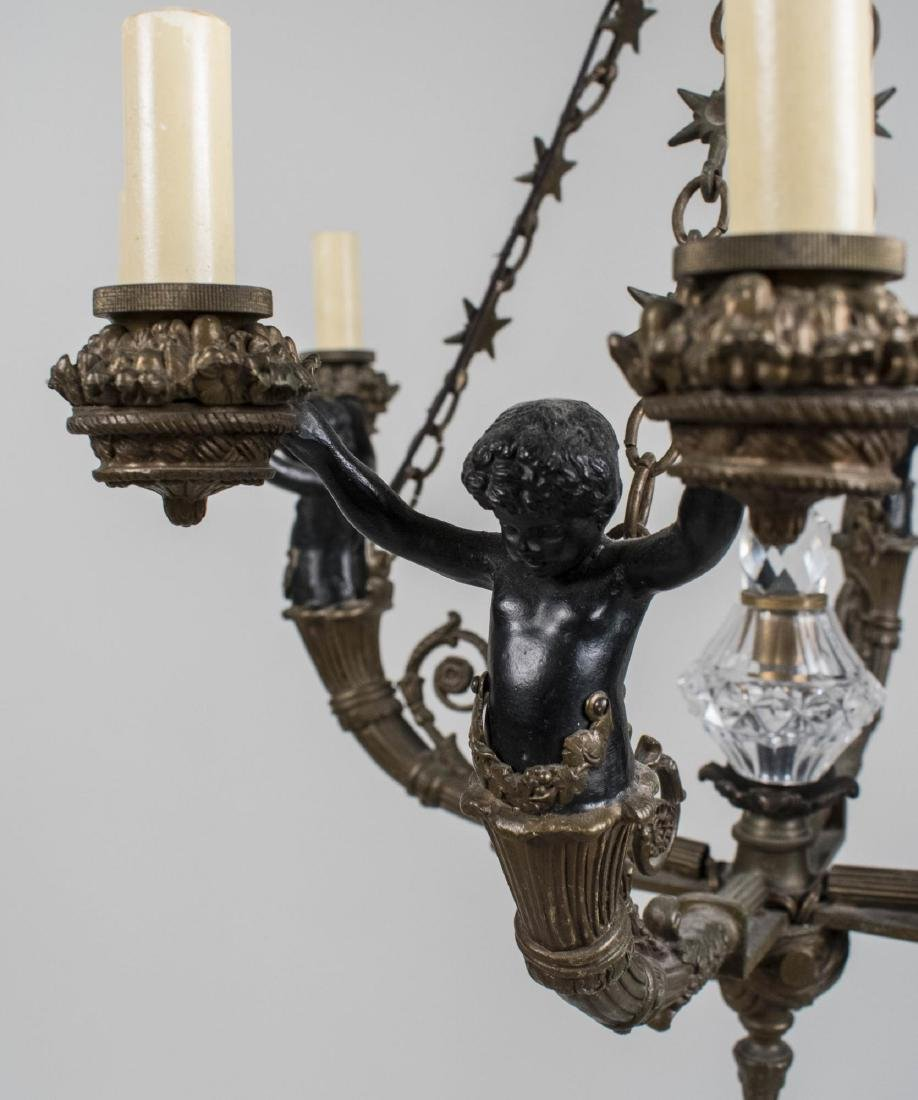 Gilt and Patinated Metal Chandelier - 2