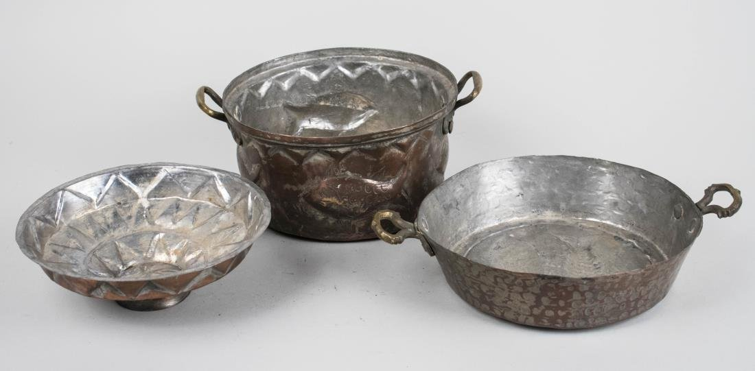 Three Middle Eastern Metal Kitchen Pots