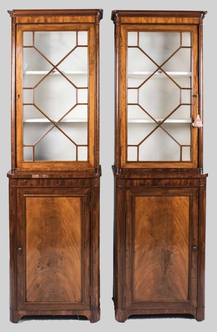 Pair of Walnut Bookcase Cabinets