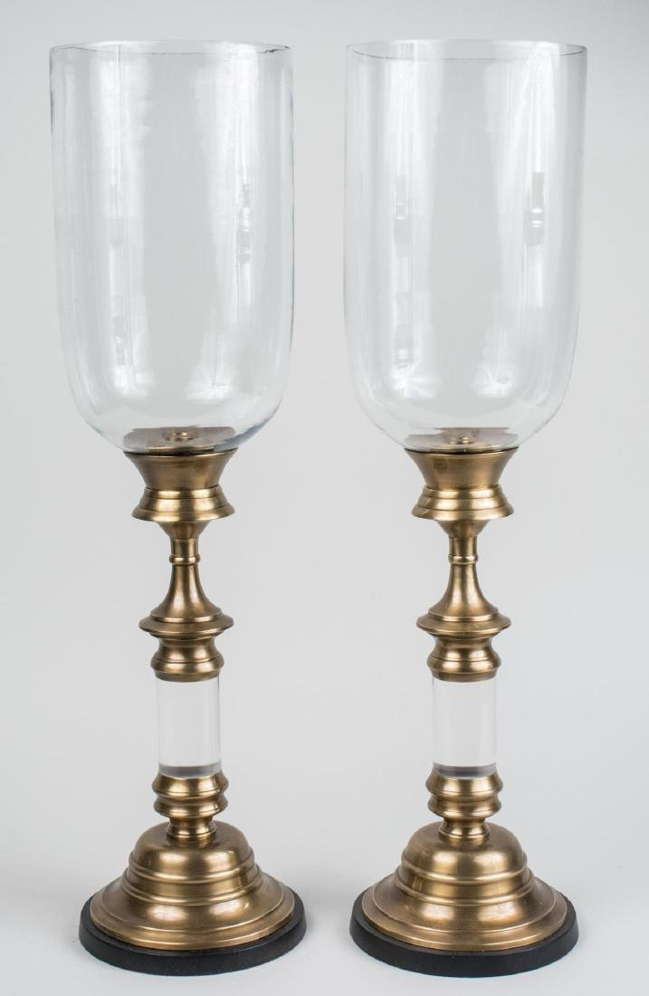 Pair of Candle Holders with Hurricane Shades