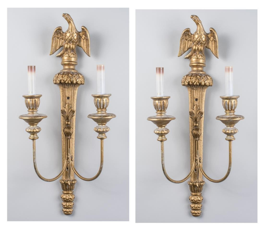 Pair of Gilt Wood Sconces