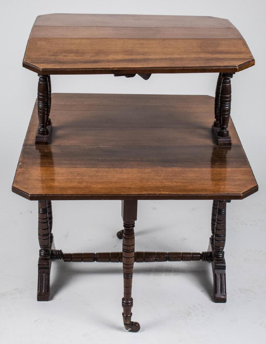 Two Tier Fruitwood Drop Leaf Table - 2