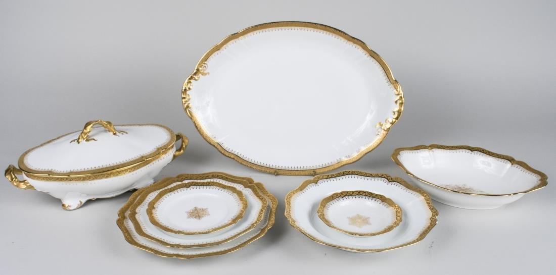 Limoges Porcelain Gilt Partial Dinner Service