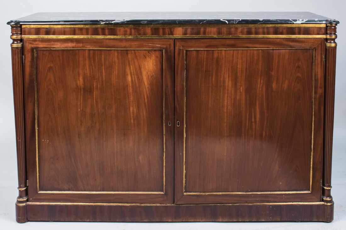 Marble Top Mahogany Side Cabinet