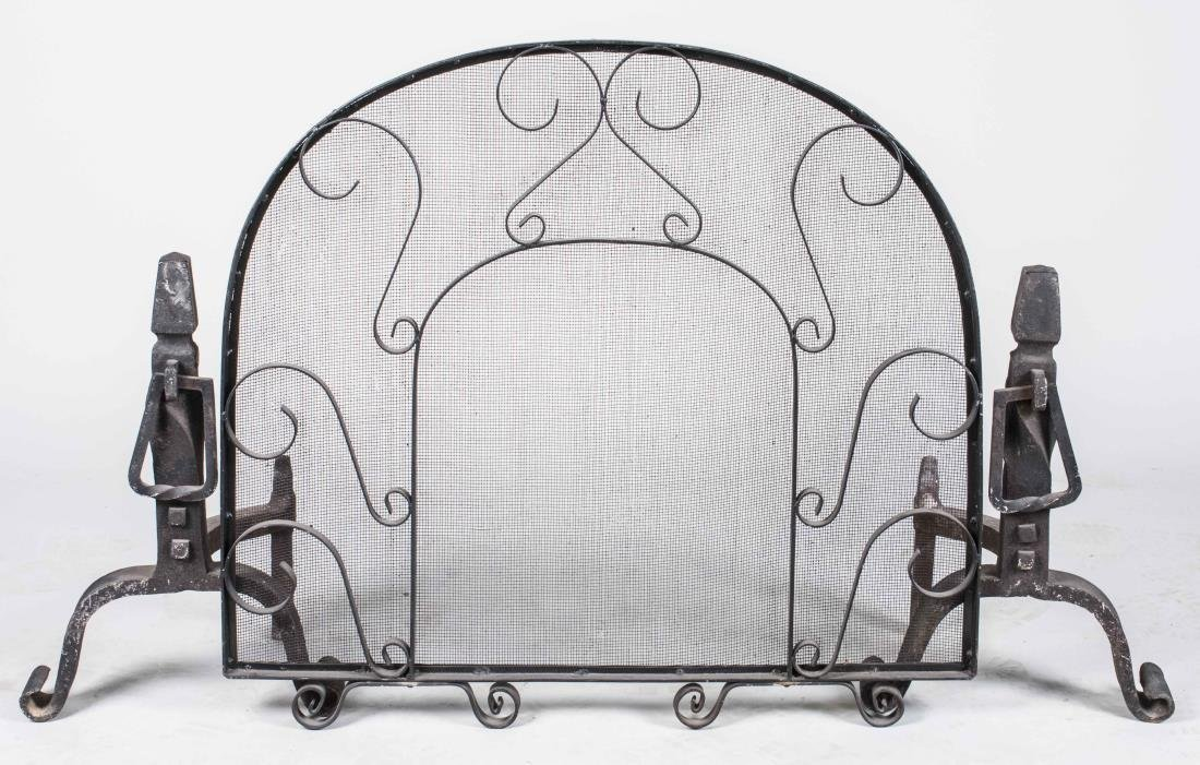 Pair of Iron Andirons and Fire Screen