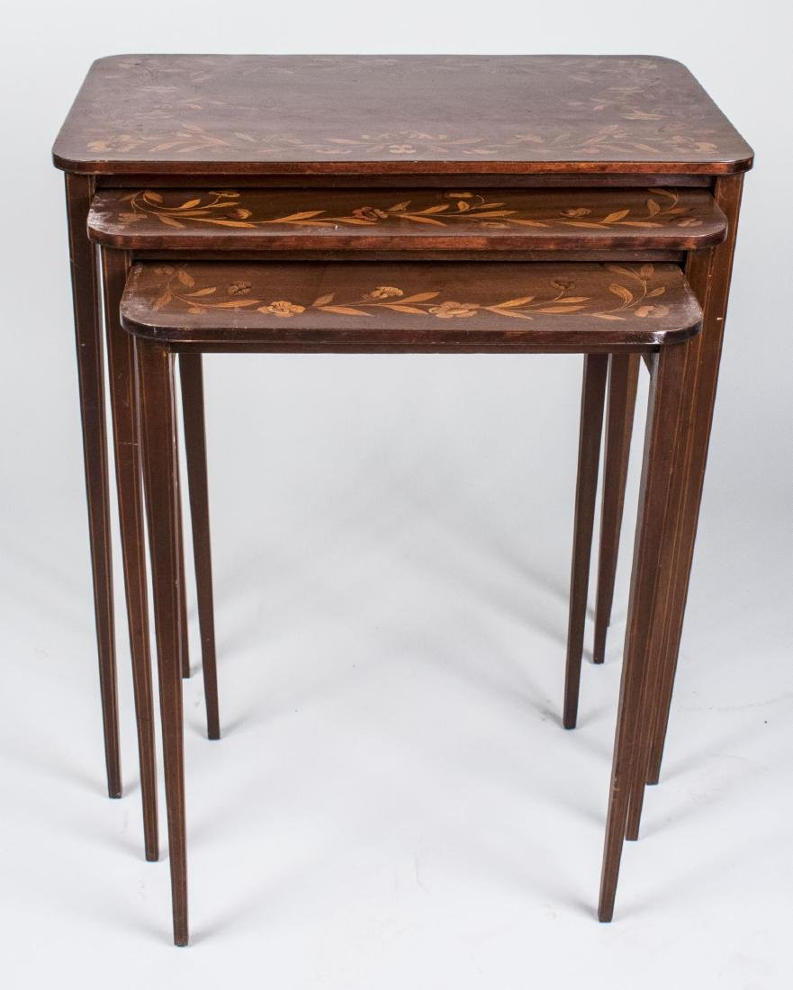 Nest of Three Marquetry Tables