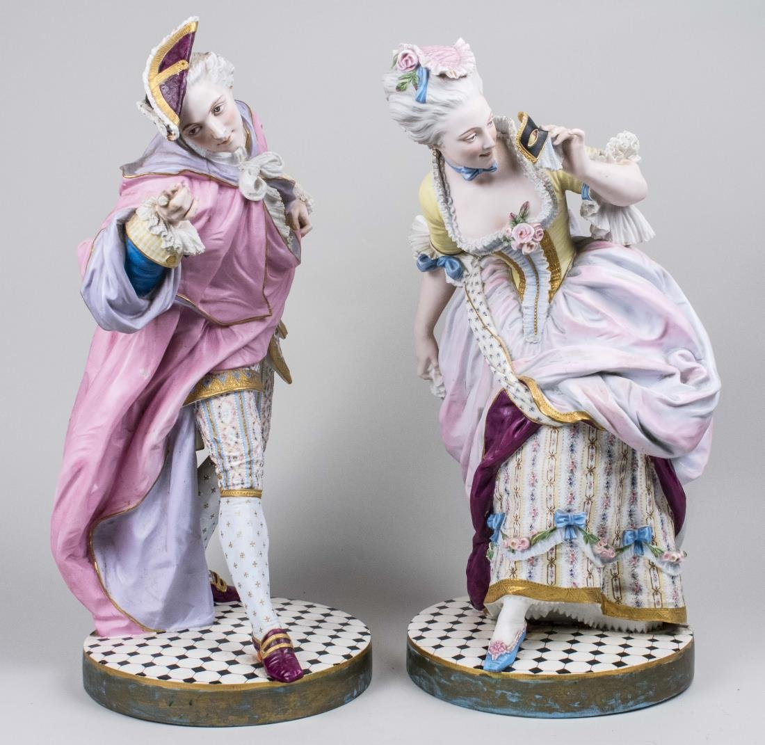 Pair of Bisque Porcelain Figures