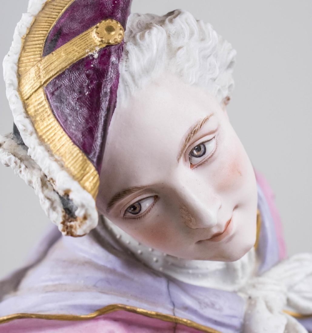 Pair of Bisque Porcelain Figures - 6