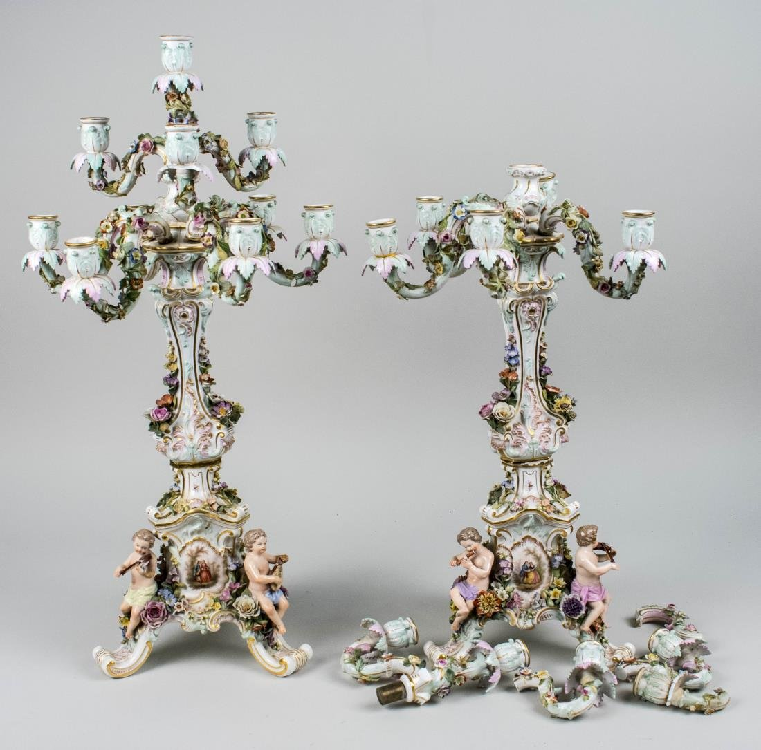 Pair of Porcelain Figural Candelabra