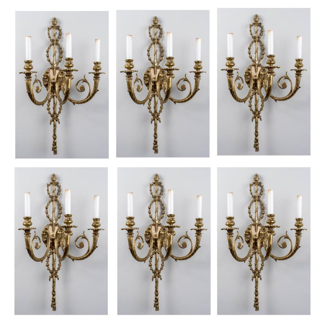 Set of Six Neoclassical Style Brass Sconces