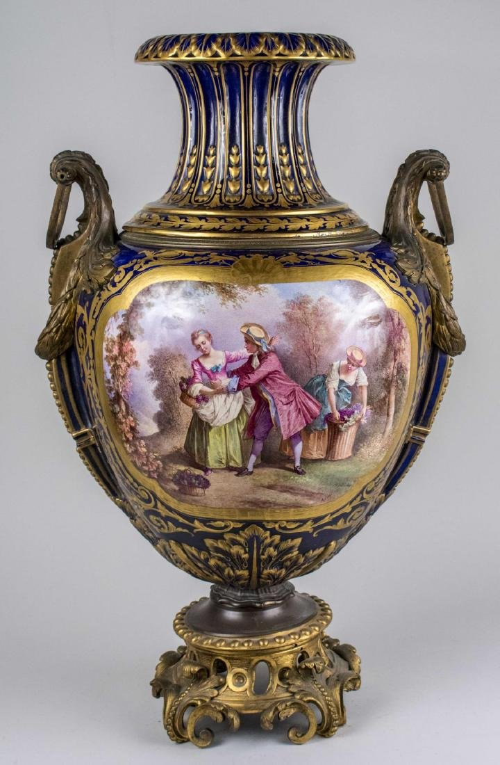 Bronze Mounted Sevres Porcelain Urn