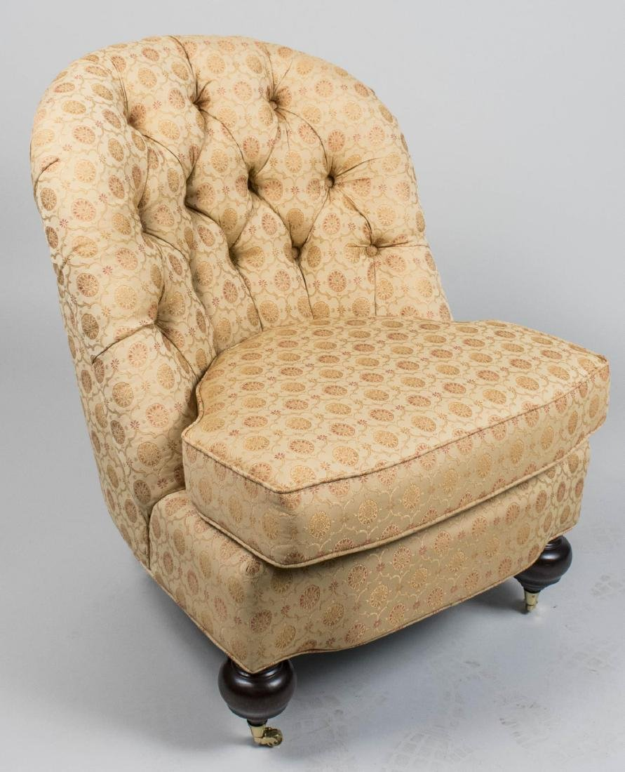 Beige Upholstered Armless Lounge Chair
