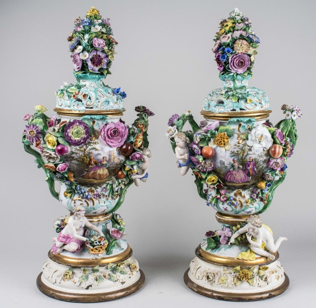 Pair of Meissen Style Porcelain Urns