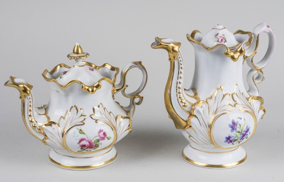 Continental Porcelain Teapot and Coffee Pot