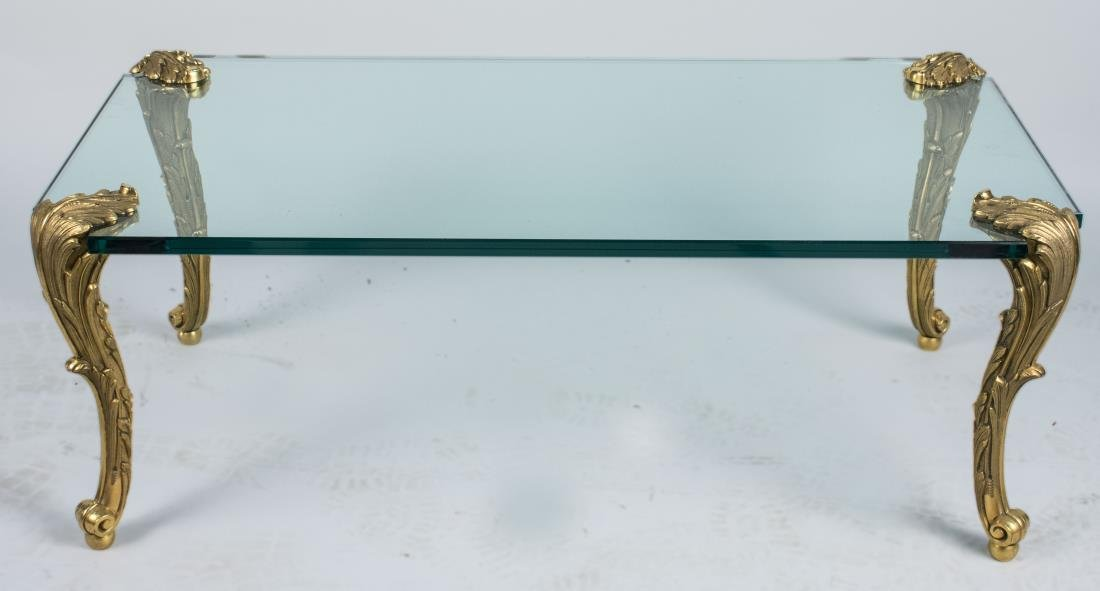P.E. Guerin Glass Top Coffee Table