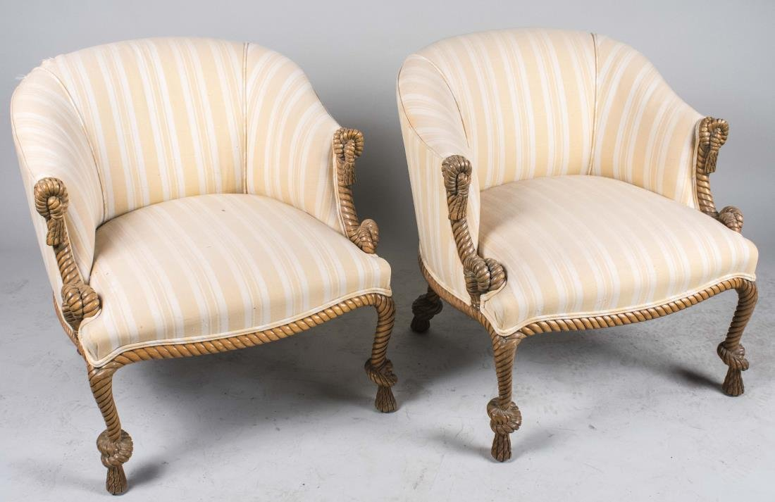 Pair of Carved Rope Tub Chairs