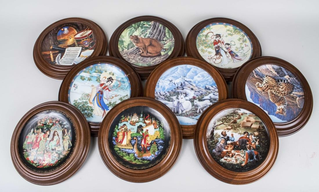 Nine Framed Collector Plates