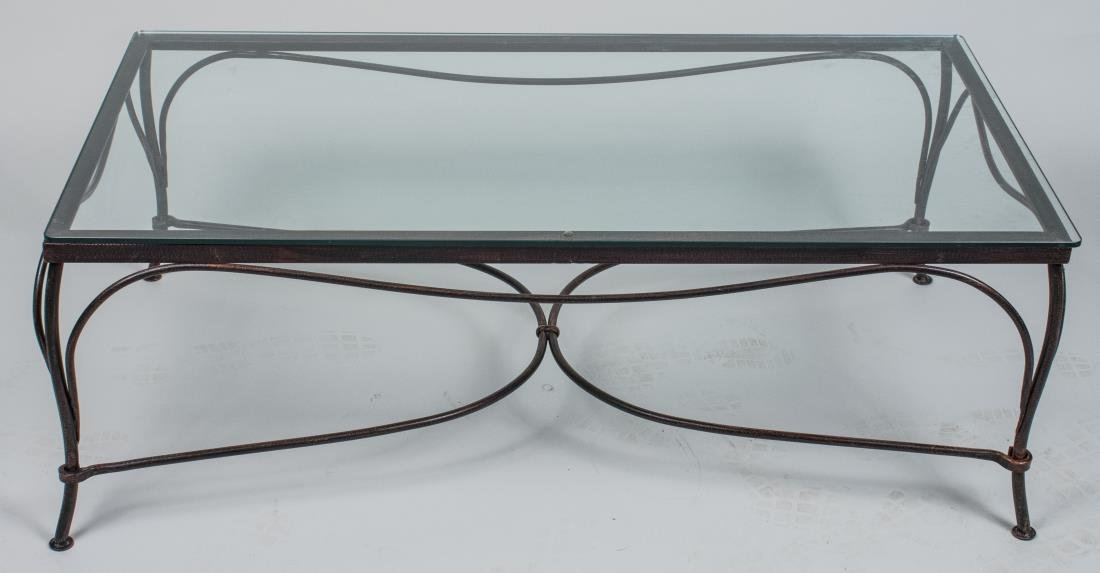 Glass Top Iron Coffee Table