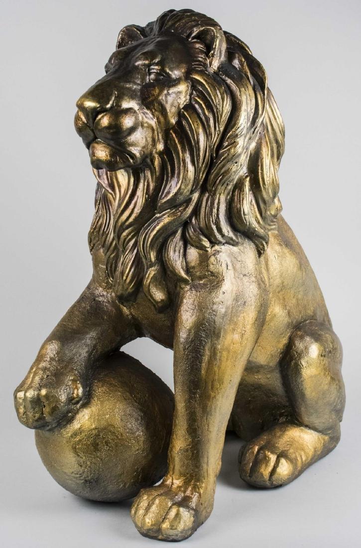Gold Painted Metal Medici Lion